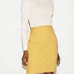 Mustard Yellow Pintucked Pencil Skirt by Express